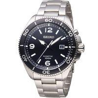 SEIKO 精工 KINETIC 衝鋒戰士人動電能腕錶 5M82-0AY0D 黑 SKA747P1
