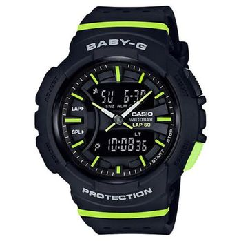 【CASIO】BABY-G 醒目運動服飾風格慢跑系列休閒錶-黑X螢光綠  (BGA-240-1A2)