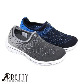 Pretty 男款無重力輕量化懶人休閒鞋-藍色、灰色