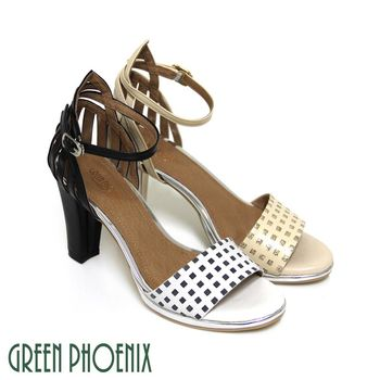 GREEN PHOENIX BIS-VITAL 方格凸紋金屬感鏤空線條西班牙小羊皮高跟涼鞋-杏色、白色