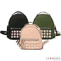 La Moda 摩登時尚特色鉚釘設計荔枝紋後背小包 (共3色)