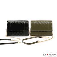 La Moda 約會晚宴必備單品菱格壓紋肩背斜背手拿鍊帶小包 (共2色)