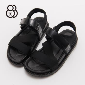 【88%】韓版街頭風皮革厚底魔鬼氈穿脫一字涼鞋