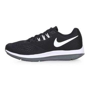 NIKE ZOOM WINFLO 4 男慢跑鞋-訓練 路跑 黑白灰