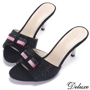 【Deluxe】全真皮經典水鑽時尚雙色蝴蝶結高跟拖鞋(黑)