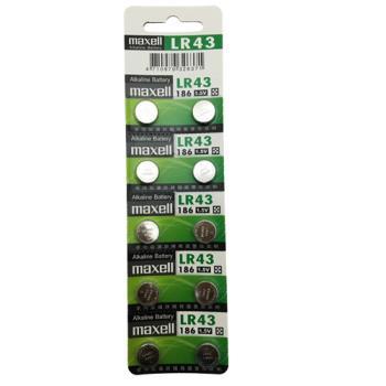 日本品牌水銀電池 maxell LR43(一卡10入)