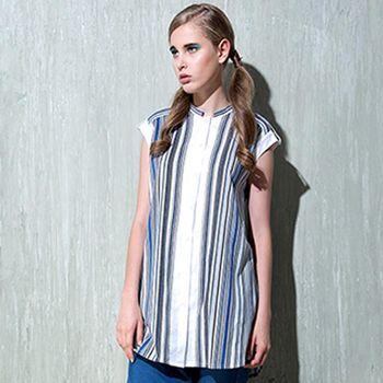 【女匠 Plombiere】個性條紋長版襯衫洋裝