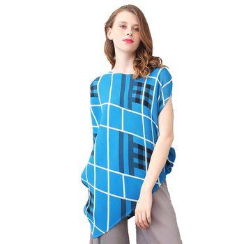 玩美衣櫃 時尚格子寬鬆圓領短袖壓摺上衣
