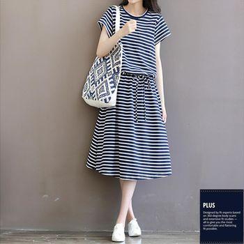 SCL T1764 涼快條紋短袖寬鬆長版綁帶連身裙洋裝
