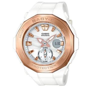 【CASIO】BABY-G 海灘風潮概念雙顯錶-白x金 (BGA-220G-7A)