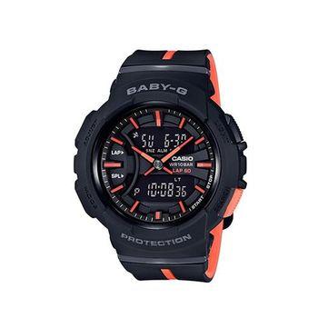 【CASIO】BABY-G 亮眼配色運動服飾風格慢跑系列休閒錶-黑X粉橘 (BGA-240L-1A)