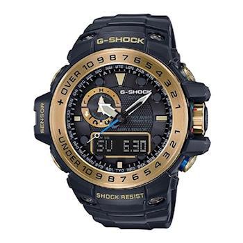 【CASIO】G-SHOCK 全方位新配備潮汐海洋運動概念電波錶- 黑X金 (GWN-1000GB-1A)