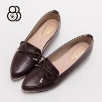 88% MIT台灣製學院風蝴蝶結皮革1.5CM低跟尖頭樂福鞋紳士鞋