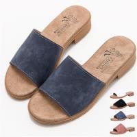88% 韓國春夏人氣多色時尚休閒舒適一字皮革粗低跟3cm拖鞋