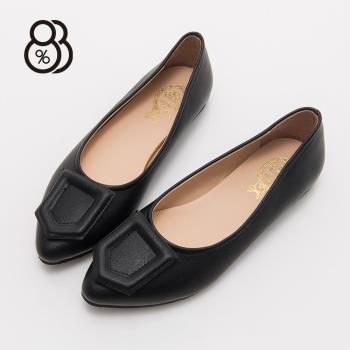 88% MIT台灣製OL上班族簡約皮革尖頭包鞋1CM低粗跟娃娃鞋跟鞋