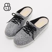 88% MIT台灣製混色編織布厚底3.5CM舒適套腳半包拖鞋
