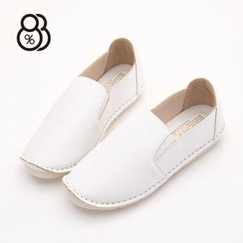 88% MIT台灣製簡約素面皮革小方頭懶人鞋小白鞋休閒鞋饅頭鞋
