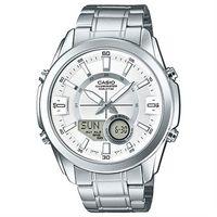 【CASIO】卡西歐雙顯多時區電子鋼帶錶-白 (AMW-810D-7A)
