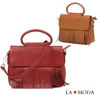 La Moda 人氣熱銷款流蘇設計大容量軟皮肩背斜背郵差包 (共3色)