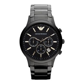 ARMANI 王者時尚家三眼計時手錶 IP黑 43mm AR2453