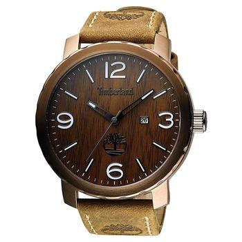 Timberland Pinkerton 木紋休閒時尚腕錶 咖啡x軍綠 50mm TBL.14399XSBN/12