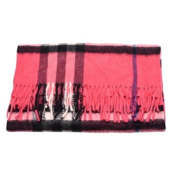 BURBERRY 經典細格紋羊絨圍巾(桃紅色)