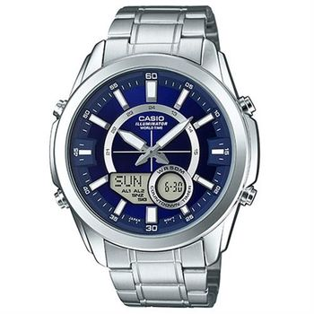 【CASIO】卡西歐雙顯多時區電子鋼帶錶- 藍 (AMW-810D-2A)