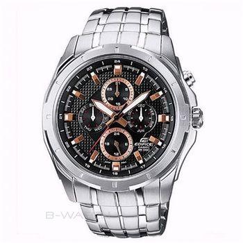 【CASIO】EDIFICE新潮尊爵經典三眼指針錶-黑x金 (EF-328D-1A5)