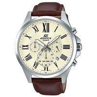 ~CASIO~EDIFICE 羅馬時刻大錶面 皮帶腕錶 ~ 白  EFV~500L~7A