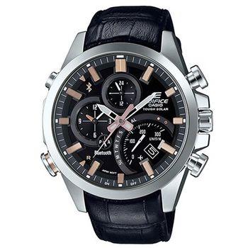 【CASIO】EDIFICE 先進技術高科技藍牙傳輸賽車皮帶錶-黑X古銅金刻度 (EQB-500L-1A)