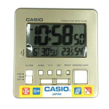【CASIO】 全方位溫濕度感應數位鬧鐘 - 香檳金 (DQ-981-9D)