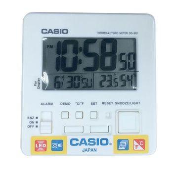 【CASIO】全方位溫濕度感應數位鬧鐘-白面 (DQ-981-7)