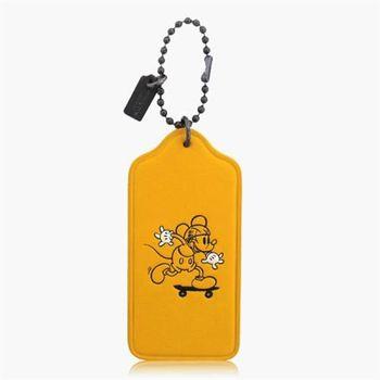 COACH 造型飾品 皮革 / 吊飾 / 鑰匙圈(米奇限定款)_黃色