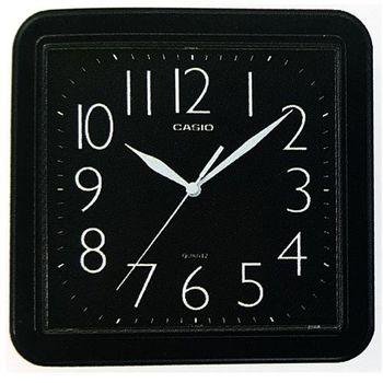 【CASIO】 流線大方指針方形掛鐘-黑 (IQ-02S-1)