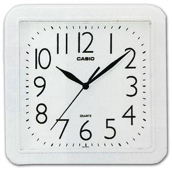 【CASIO】 流線大方指針方形掛鐘-白 (IQ-02S-7)