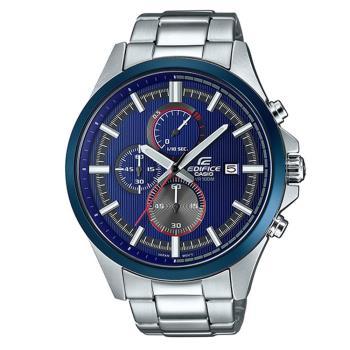 【CASIO】EDIFICE 直條刻紋錶盤三眼三圈簡潔賽車錶-藍 (EFV-520RR-2A)