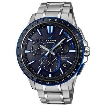 【CASIO】OCEANUS 手工研磨技術陰影之美GPS電波頂級腕錶-藍面 (OCW-G1200-1A)