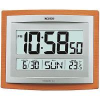 CASIO-液晶溫度顯示木紋掛鐘/座鐘兩用_銀x咖啡 (ID-15S-5)