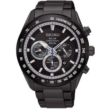 SEIKO精工 Criteria 太陽能限定計時男錶-鍍黑/43mm(SSC591P1)