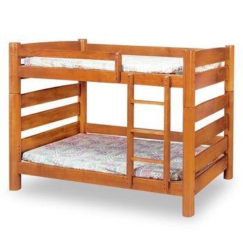 【時尚屋】[MT7]柚木色實木3.5尺圓柱雙層床MT7-196-1不含床墊/免運費/免組裝
