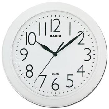 【CASIO】流線大方指針圓形掛鐘-白 (IQ-01S-7)