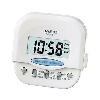 【CASIO】 輕巧型超小旅行用可摺疊鬧鐘-白 (PQ-30B-7)