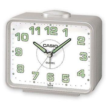 CASIO 夜間指針桌上方型簡約鬧鐘-銀殼白面 (TQ-218-8)