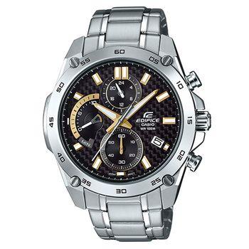 【CASIO】EDIFICE 編織感黑色格紋錶盤賽車錶-黑面X金X銀圈 (EFR-557CD-1A9)