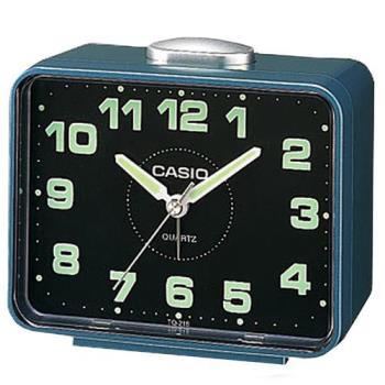 【CASIO】 夜間指針桌上方型簡約鬧鐘 - 藍殼黑面 (TQ-218-2D)