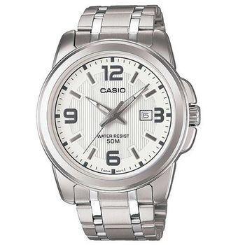 【CASIO】 簡約經典時尚指針日曆腕錶 - 白 (MTP-1314D-7A)