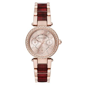 Michael Kors 琥珀時尚晶鑽日曆錶 玫瑰金x雙色版 33mm MK6239