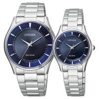 CITIZEN 星辰 光動能簡約石英對錶 藍x銀 36+27mm BJ6480-51L+EM0400-51L
