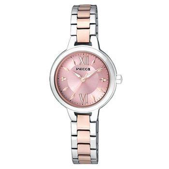 CITIZEN wicca 優美羅馬甜心公主手錶 粉紅x雙色版 26mm BG3-732-91