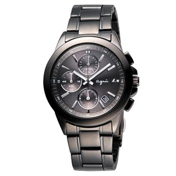 agnes b. 魔幻精靈三眼計時手錶 IP黑 38mm 7T92-0HV0SD BF8305P1